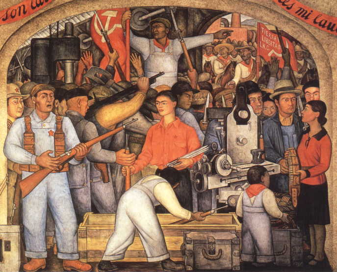 1928 the arsenal frida kahlo distributes arms for Diego rivera s most famous mural