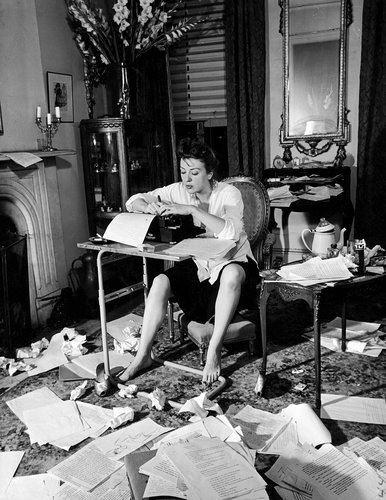 Anne Sexton, at her typewriter