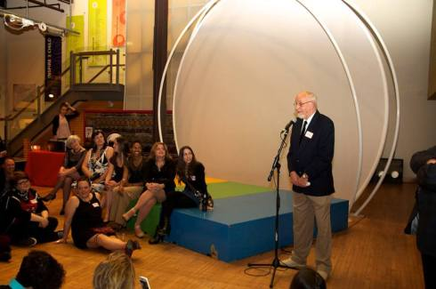 Roland Muller giving a speech at the Eastwood Arts Package Reunion, April 2013