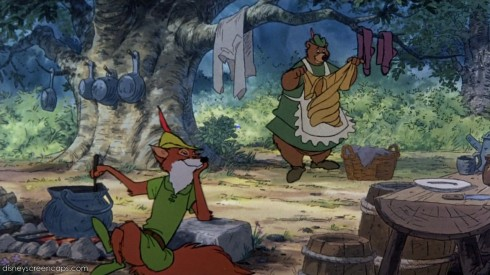 Disney's Robin Hood also taught me that men can cook and do their own laundry!