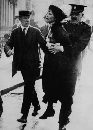 Police arresting British suffragette Emmeline Pankurst