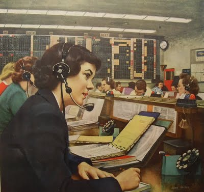 1940s vintage female telephone operator BELL SYSTEMS advertisement illustration by John Falter