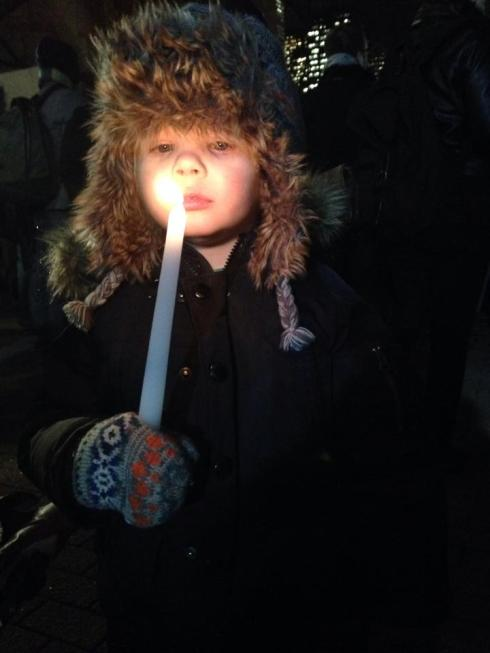 "Really into the whole ""holding a fiery candle"" thing at the Black Lives Matter protest"