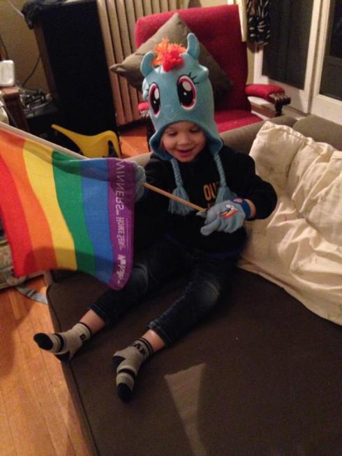 "You found this flag and said ""look, a Rainbow Dash flag!"""